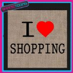 I LOVE HEART SHOPPING JUTE LADIES GIFT BAG